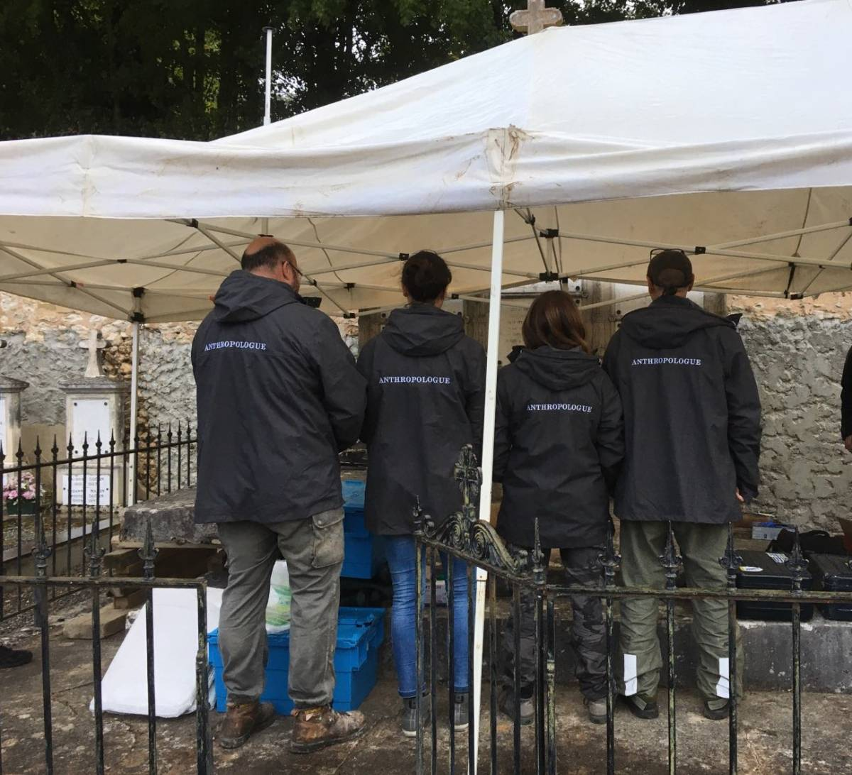The team of anthropologists that exhumed the bones of General Gudin's close relatives
